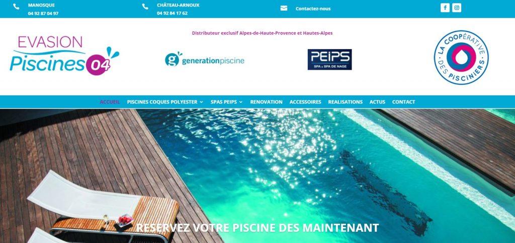 Création site internet Evasion Piscines 04 Manosque et Château-Arnoux - evasion-piscines04.fr